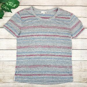 Wilfred Free Gray Striped Short Sleeve Top Small